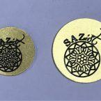 saz etiketi pirinç oyma logo saz logosu yuvarlak etiket